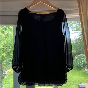See through sleeves blouse.      Navy blue
